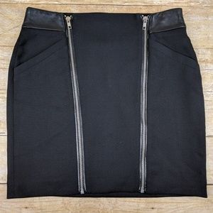 The Kooples Double Zipper Wool Leather Mini Skirt